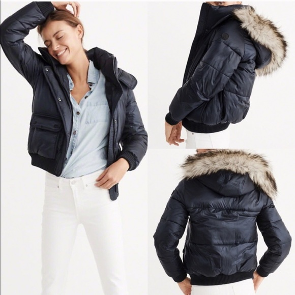 c6141511e Abercrombie & Fitch Fur Trim Hooded Puffer Jacket NWT